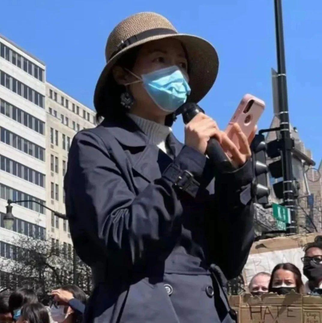 邱新倩女士在华盛顿麦弗森广场集会上发表精彩演讲