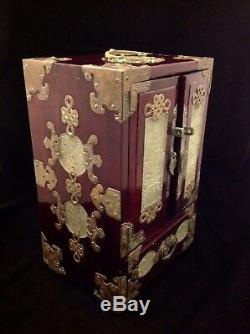 Jade Jewelry Box : jewelry, Vintage, Chinese, Wood,, Brass,, Carved, Jewelry, Drawer,, Red'Silk', Lining