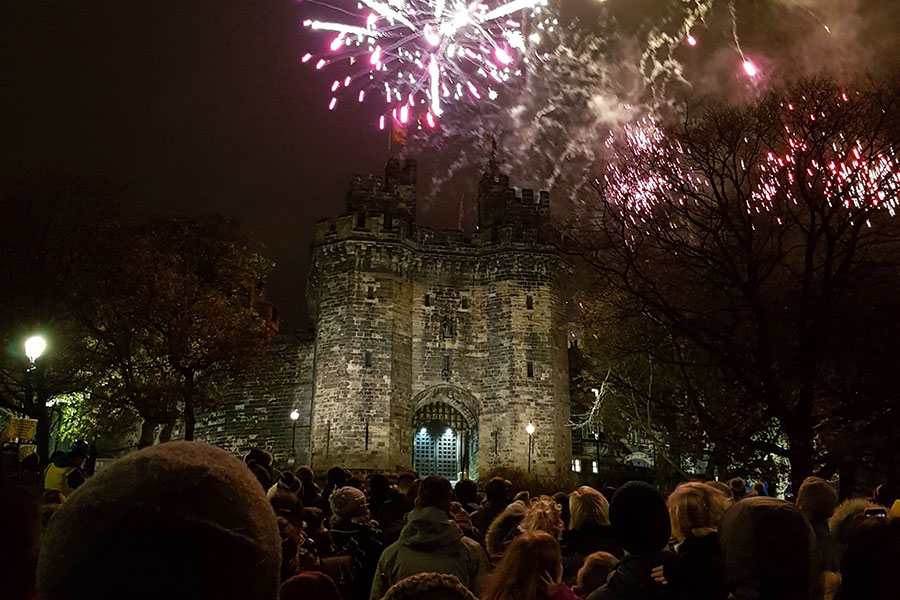 Fireworks over Lancaster castle for Light Up Lancaster