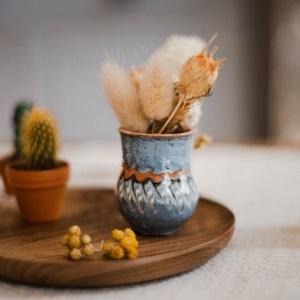 Duo de mini-vases horezu bleu clair
