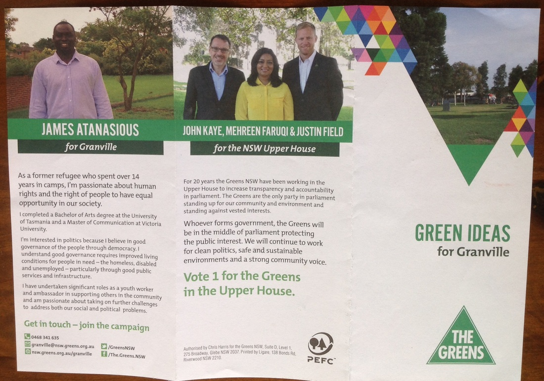 The Greens Advertising Campaign- James Atanasious, Member For Granville -  Chini And Piri's Political Commentary