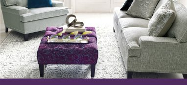 rug and purple ottoman