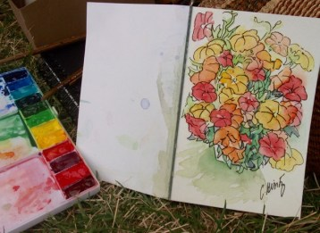 """The Waukesha Farmer's Market is a fun place to take my watercolor kit on Saturdays. """"Berry"""" of Barefoot Farms, Brookfield, WI, USA"""