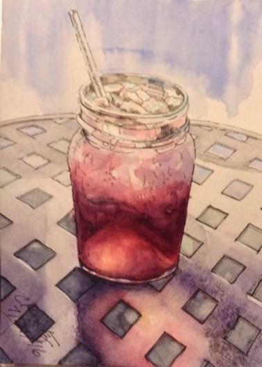 """""""Blackberry Spritzer"""" Watercolor 5X9"""""""