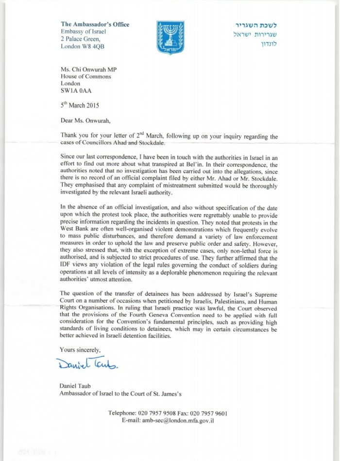 Ambassador of Israel reply 05 March 2015