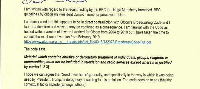 BBC finding re Naga Munchetty criticising President Trump's racist remarks