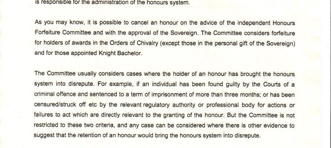Seeking cancellation of  honorary CBE awarded to Harvey Weinstein