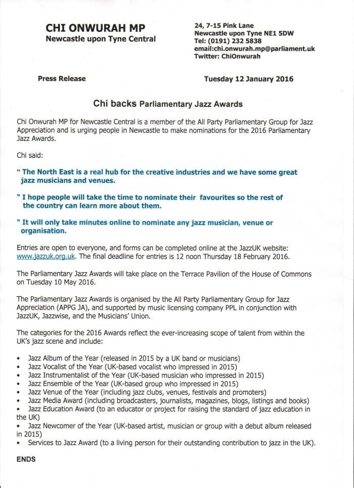 Chi backs Parliamentary Jazz Awards p1 12 Jan 2016