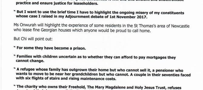 Chi calls for action to help those trapped in leasehold homes
