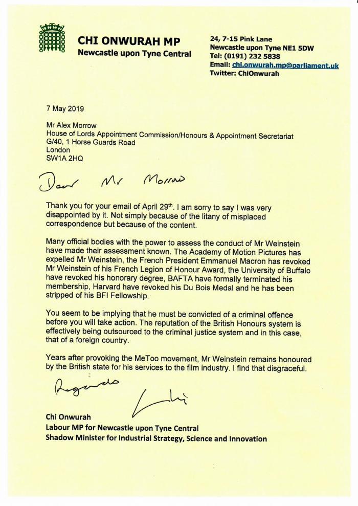 Harvey Weinstein failure to remove honorary CBE « Admin