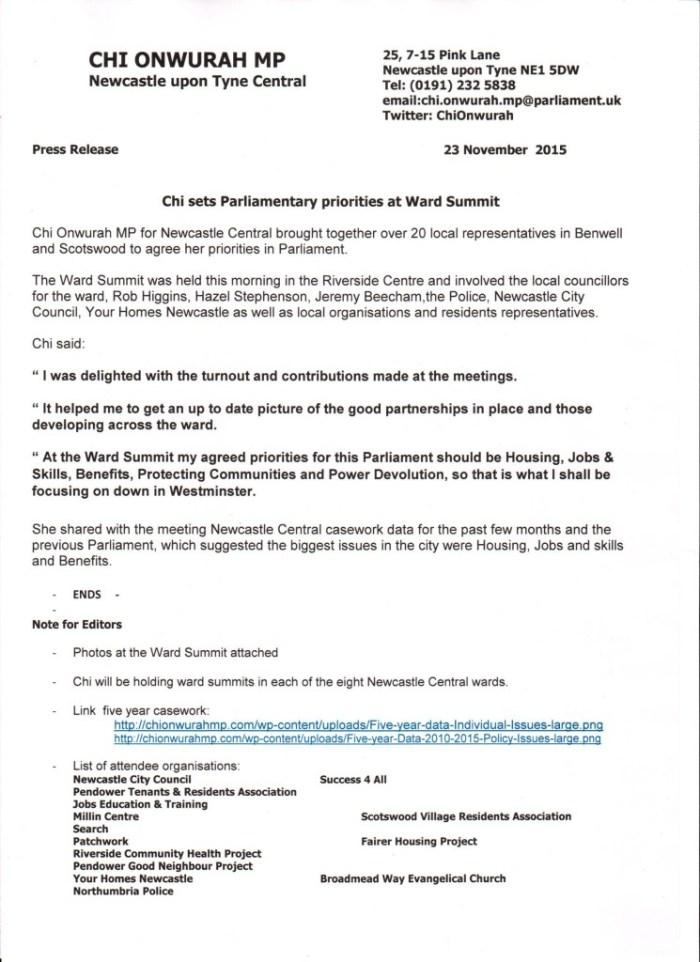 Chi sets Parliamentary priorities at Ward Summit 23 November 20
