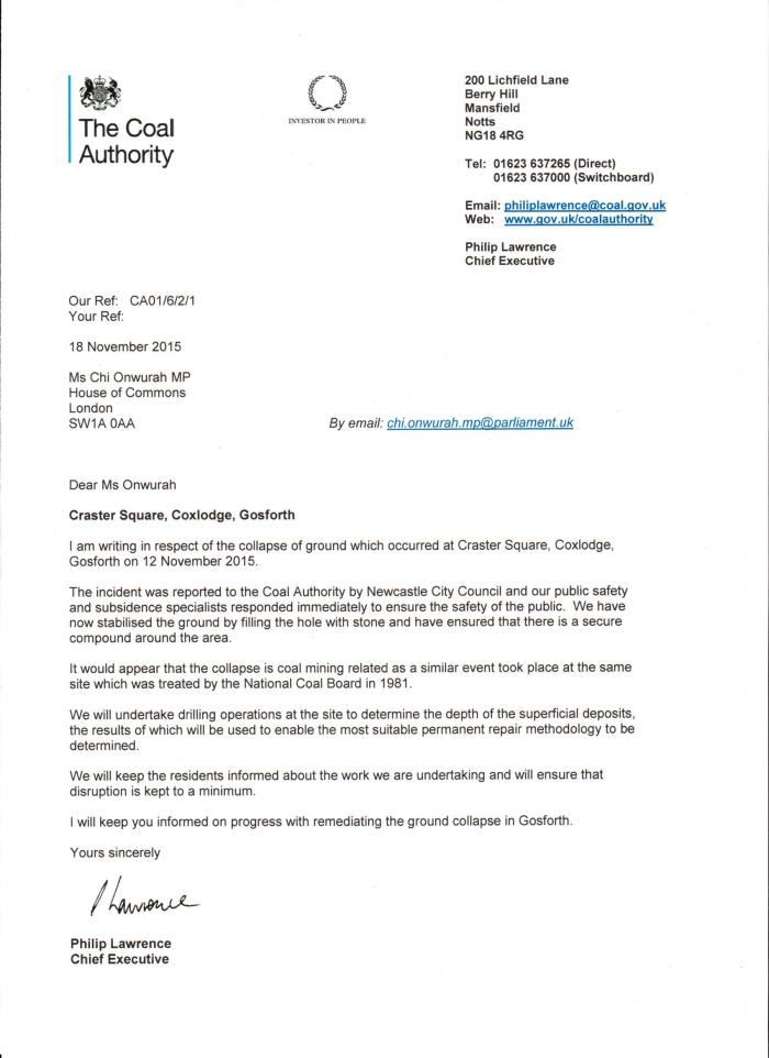 Coal Authority letter re Craster Square sink hole Nov 2015