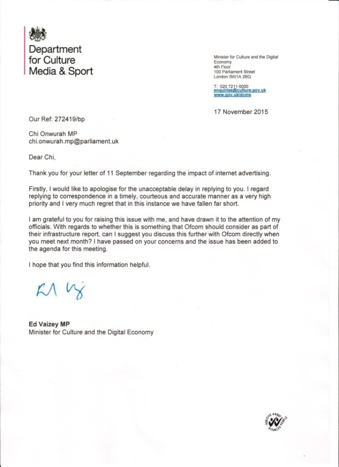 Ed Vaisey reply re Internet Advertising 17 November 2015