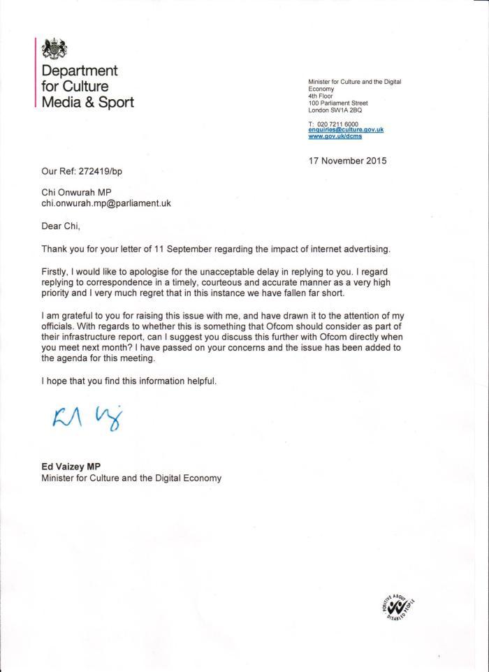 Ed Vaisey reply re Internet Advertising 17 November 2015
