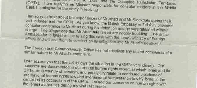 Foreign Office reply concerning injuries to Newcastle Councillors visiting Palestine