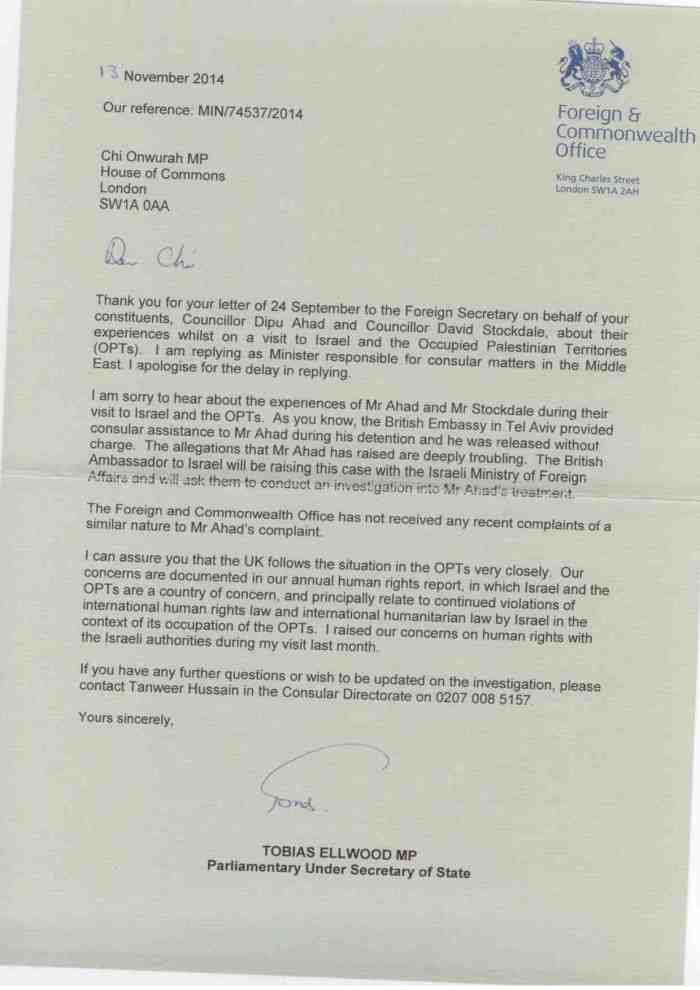FCO reply re injuries to  DA and DS whilst ivisitying Israel and Palestine 13 Nov 2014