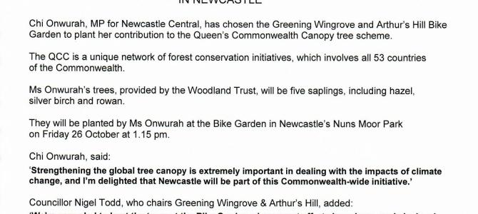 Planting a tree as part of the Queen's Commonwealth Canopy in Newcastle