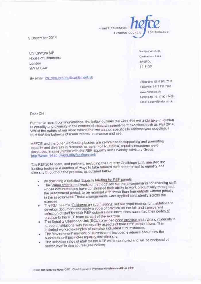HEFCE re equality and diversity 09 Dec 2014