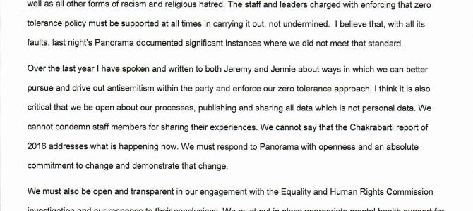 Chi responds to the Panorama programme on antisemitism