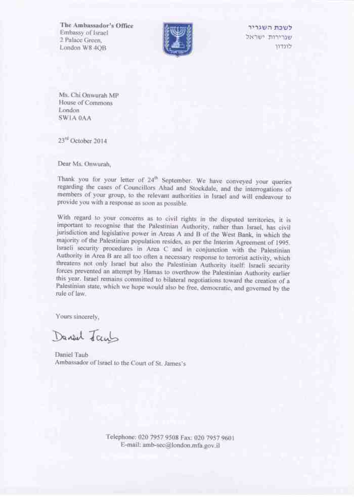 Israeli Ambassador reply 23 October 2014