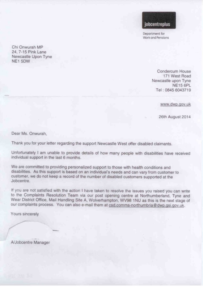 Jobcentre Plus support for disabled claimants 26 August 2014