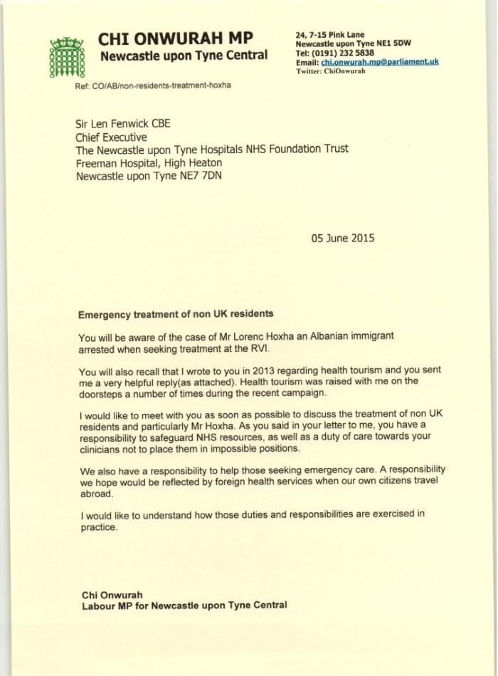 Letter to Newcastle Hospitals Trust re Mr Hoxa 05 June 2015