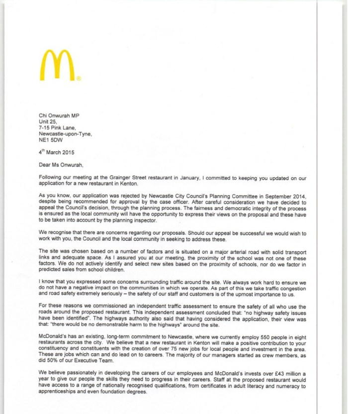 Macdonalds notice of appeal at Kenton site  04 March 20150001