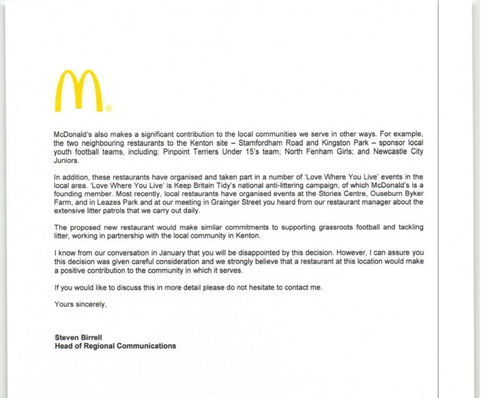 Macdonalds notice of appeal at Kenton site  04 March 20150002
