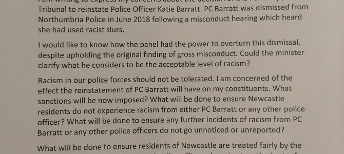 Concerns regarding reinstatement of Police Officer who made racist slurs
