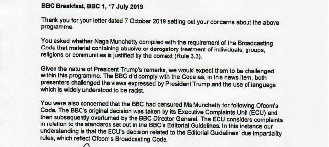 Ofcom confirms Naga Munchetty's right to challenge President Trump's remarks