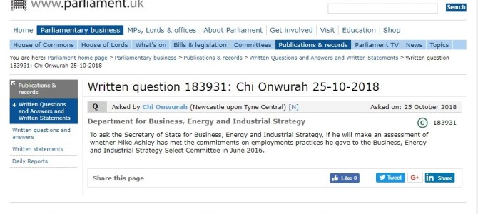 Parliamentary Questions re football clubs