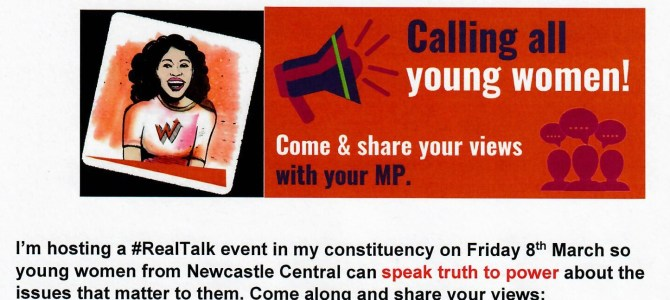RealTalk event for young women in Newcastle Central on International Women's Day