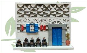 Wandbordje Pyrgi blauw liggend