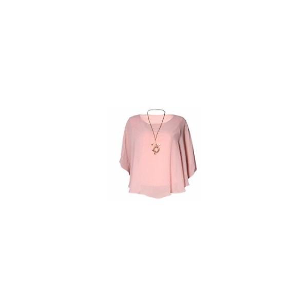 Fervente Classy Lantern Sleeve Chiffon Blouse With Matching Necklace