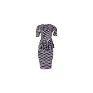 Canill Zigzag Peplum Top & Skirt Set - Black