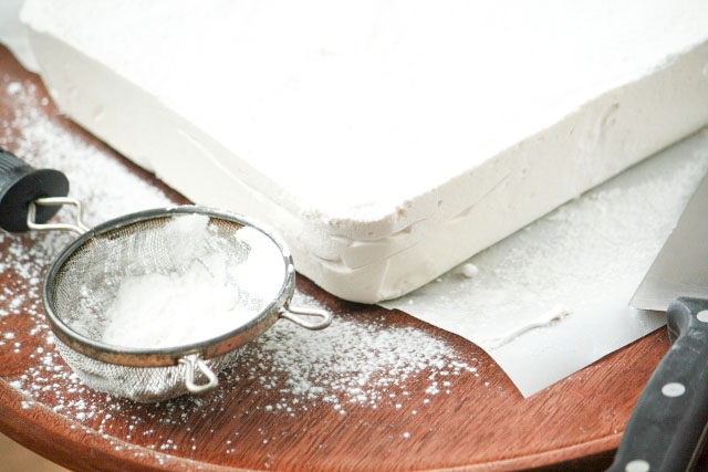How to Make Homemade Marshmallows on a board before cutting