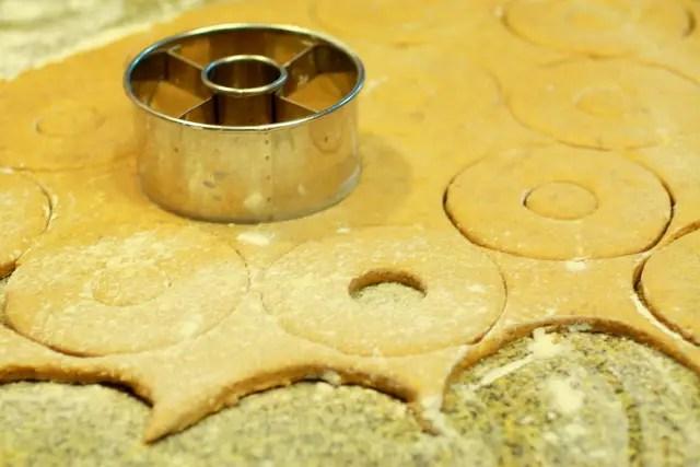 Pumpkin donut dough with donut cutter
