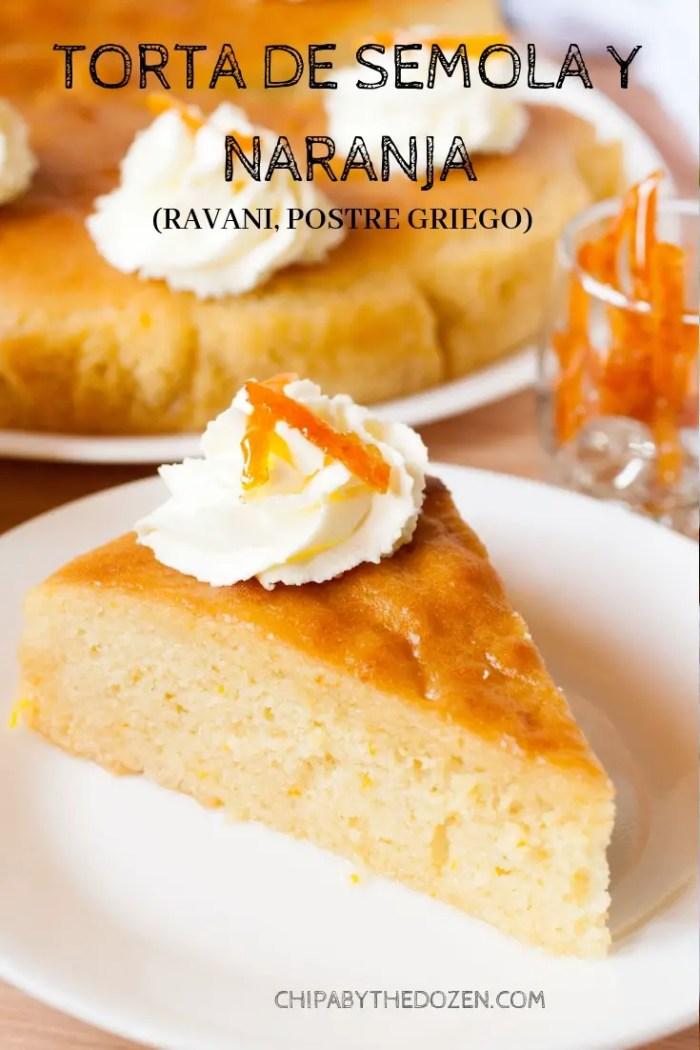 Torta de Sémola y Naranja (Ravani, Postre Griego)