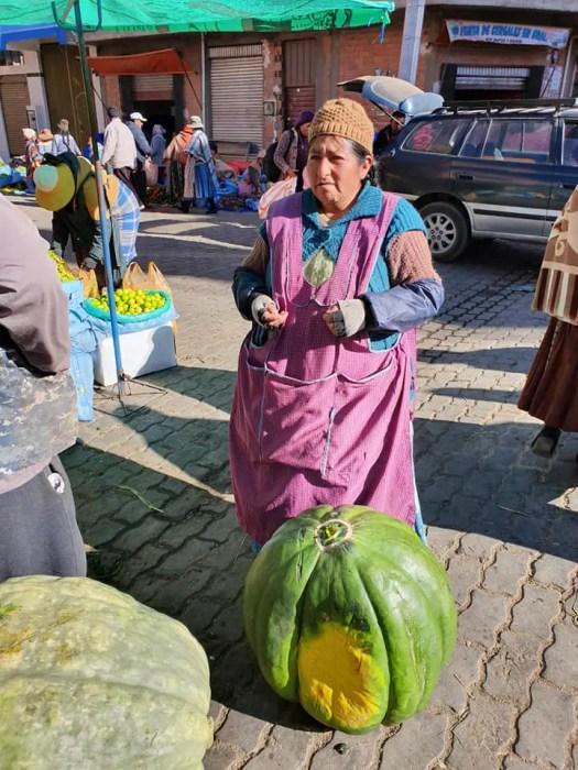 señora en el mercado boliviano