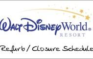Refurb/Closure Schedule for Walt Disney World April 2010