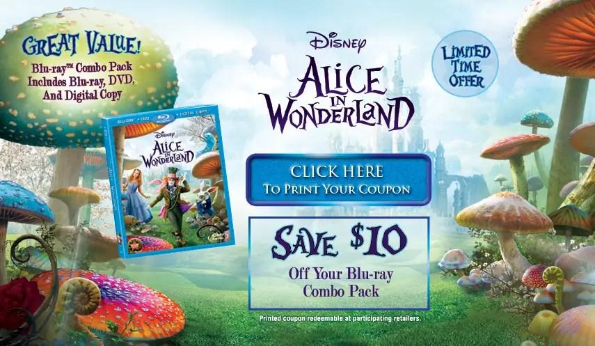 $10 off Alice In Wonderland Blu-ray/DVD Combo Pack