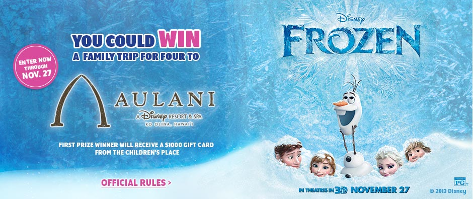 Win a Trip to Disney's Aulani Resort with Disney 'Frozen' Sweepstakes