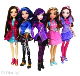 """Descendants Signature Doll Assortment Licensee: Hasbro MSRP: $19.99 each Retailers: Mass retailers Available: August 2015 A new generation of Disney heroes and villains is taking center stage in Disney's """"Descendants."""" Bring the storytelling to life with dolls featuring iconic fashions inspired by the characters in the Disney Channel Original Movie. (Each sold separately)"""