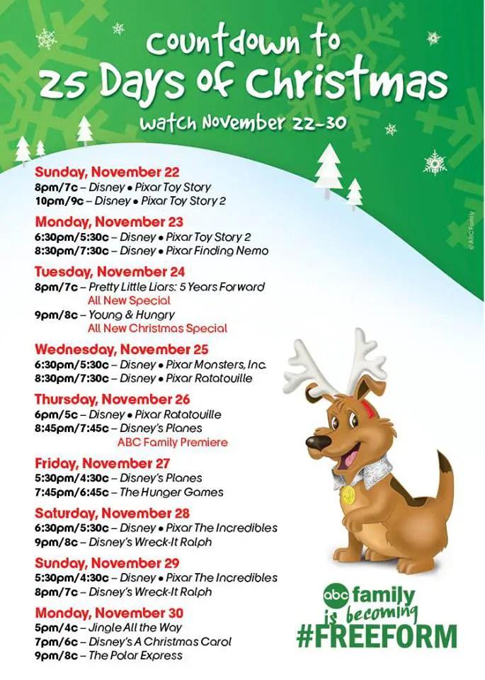 Abc Family S Countdown To 25 Days Of Christmas To Celebrates Pixar