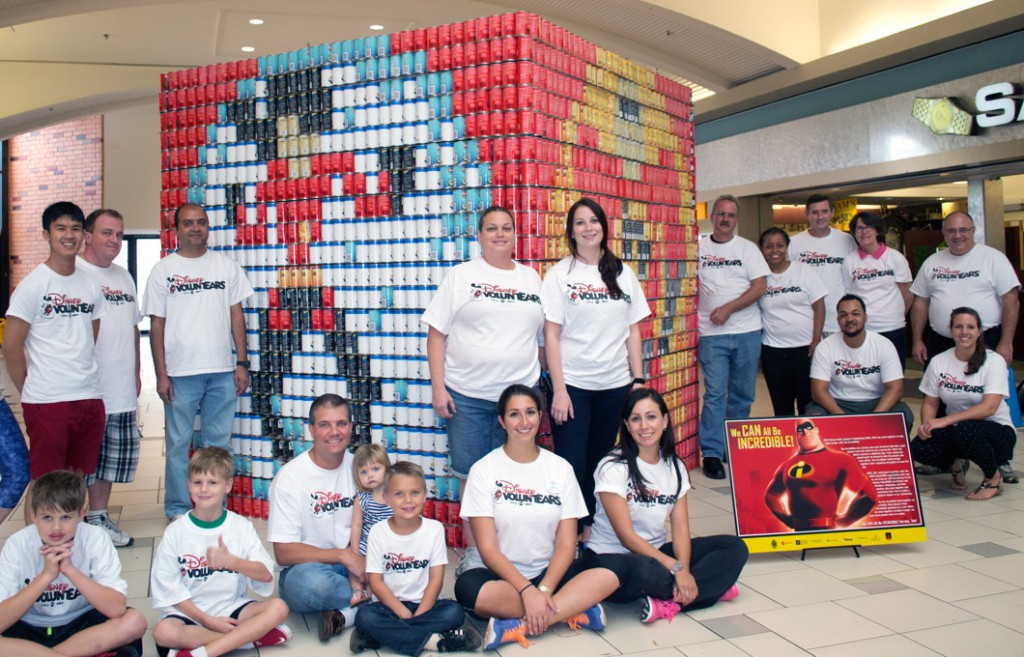 """Disney World VoluntEARS Support Food Bank with """"Incredibles"""" CANstruction"""