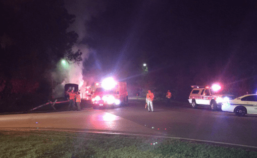 Report of a bus catching on fire at Disney's Fort Wilderness Campground