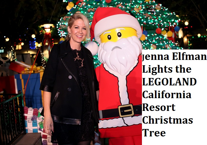 Jenna Elfman Lights LEGOLAND California Christmas Tree