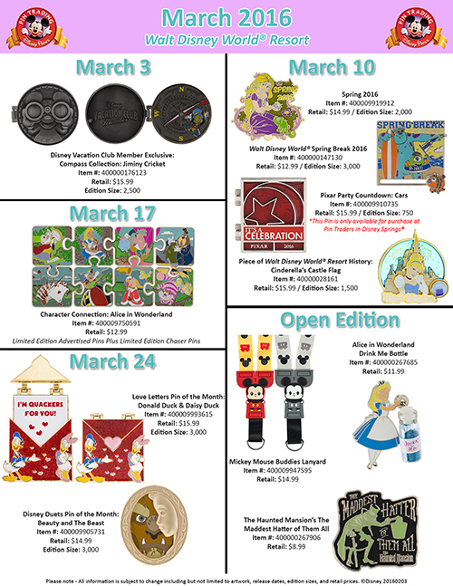 New Pins coming to Walt Disney World & Disneyland this March