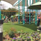 The Music Garden Melodies play area has play ground equipment for younger and older children.