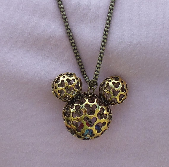 Disney Find- Antique Gold Hidden Mickey Scrollwork Pendant Necklace